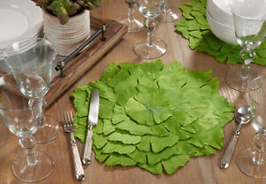 Fennco Styles Unique Ginkgo Green Leaf Placemats 14 Inches Round, Set of 4