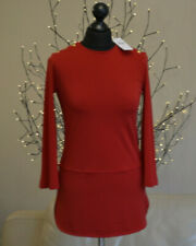 RALPH LAUREN Womens Top Military Drummer Style Long Flare Sleeve Red Sz. Small