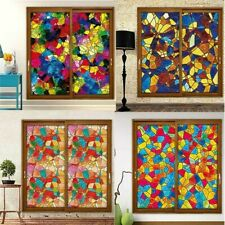 European Static Cling Window Film Multicolor Stained Glass Sticker Door Home Art