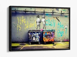 BANKSY LIFE IS SHORT-DEEP FLOATER/FLOAT EFFECT FRAMED CANVAS WALL ART PRINT-BLUE