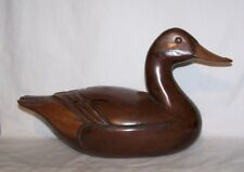 Vintage Carved Duck Decoy Solid Wood Two Toned Very Detailed Swimming Carved Eye
