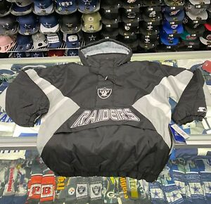 Las Vegas Raiders Starter VINTAGE ENFORCER Hooded Half-Zip Pullover Jacket
