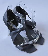 Ladies Dune Pewter Grey & Silver Heeled Leather Shoes Size UK 4