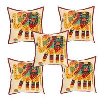 "Elephant Printed 16"" Square Pillow Case Handmade Cotton 5 Piece Cushion Cover"