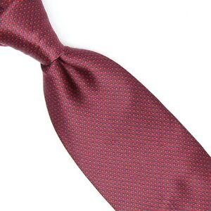Brioni Mens Silk Necktie Red Blue Mini Check Smooth Print Tie Made in Italy