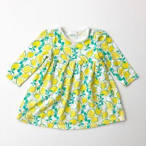 NEXT Girls Size 9-12m White Yellow Lemon Long Sleeved Dress