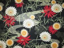 Japanese Flowers Mystic Metallic Thread Gold Floral Cotton Fabric FQ