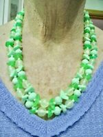 Vintage 1950's Hong Kong Green Lucite Double Strand Adjustable Necklace