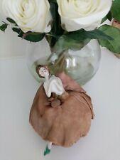 Antique Porcelain Half-Doll Pincushion Risque Boudoir Lady Figurine vtg shabby