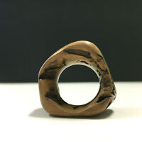 RaRe Unique Vintage Artisan ChUnKy Wood Carved Continuous Ring Size 11.25 QQ33e