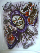 NEW LARGE HORROR GOTH DECAL WINDOW STICKER REUSABLE 37cm GRINNING SKELETON HB