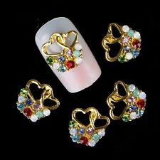 5 x Gold Alloy & Coloured Rhinestone Nail Art Hearts Decorations  FREE P&P (L4)