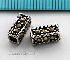 2x ANTIQUE STERLING SILVER MARCASITE STONE RECTANGLE TUBE SPACER BEAD 9mm #2296
