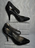 WOMENS NEWLOOK  Black Synthetic Slim High  Heel Court Shoes Size 4/37 (WHS105)