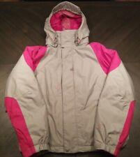 Burton Snowboard Ski Jacket Pink & Gray Long Sleeve Women Size Small Duck Down