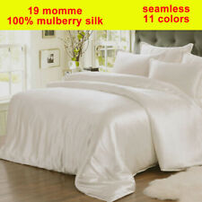 4pc 19mm 100% Silk Duvet Comforter Cover Fitted/Bottom Sheets Pillow Cases Set