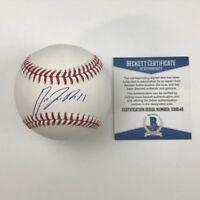 Autographed/Signed JOSE RAMIREZ Indians Rawlings ROML Baseball Beckett BAS COA