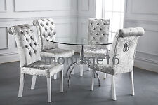 Bespoke Rollback Button Silver Crushed Velvet Fabric Dining Chairs RRP GBP1100