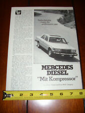 MERCEDES BENZ 300SD DIESEL - ORIGINAL 1978 ARTICLE