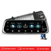 "Junsun 10"" 1080P 3G dual lens Car DVR Dashcam rearview mirror with backup camera"