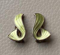 Silver Clip On Earrings Norway Modernist 925 Guilloche Enamel Vintage 1950s Old