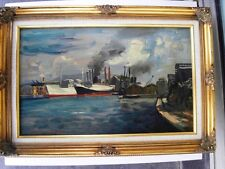 """BERTHOMME SAINT-ANDRE (1905-1977) Huile sur panneau isorel """"Bateaux au port"""""""
