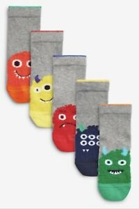 NEXT BOYS BRIGHT FLUFFY MONSTER SOCKS *ALL SIZES*  5 PAIRS IN A PACK  x 2 PACKS