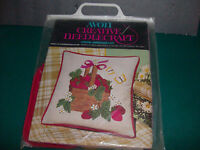 "Basket of Strawberries 14"" Pillow Kit Vintage Avon Crewel Creative Needlecraft"