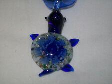 LAMPWORK BLUE GLASS TURTLE NECKLACE BEAUTIFUL -2