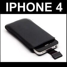 POCHETTE HOUSSE ETUI CUIR PUSH NOIR comp APPLE IPHONE 4