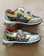 BNIB Boys Spiderman Trainers Shoes Kids Running Black/Gold Size 31