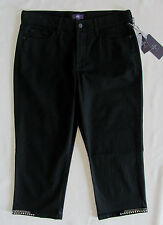 NYDJ Not Your Daughter's Jeans Ariel Crop Capri-Black with Stud Hems-Size 6-NWT