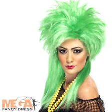 80s Green Punk Chick Wig Ladies Fancy Dress 1980s Rock Star Costume Accessory