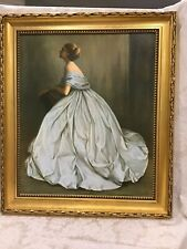 Beautiful vintage 1969 mid century Elegant young woman oil painting Framed Repr