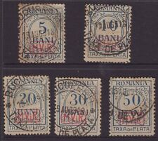 Romania postage due overprinted stamp group