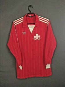 Switzerland Jersey Match Worn 1983/85 Home Long Sleeve LARGE Shirt Adidas ig93