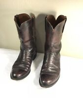 LUCCHESE L8284 Mens 11 D Black Cherry Smooth Ostrich Leather Roper Boots