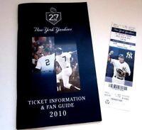 2010 New York Yankees A-Rod Unused Ticket & Fan Guide Alex Rodriguez HTF
