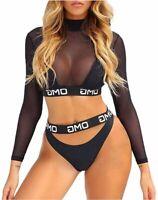 Women Floral Long Sleeve Tie Side 2-Pieces Swimsuit, Omg-black, Size Medium gP18