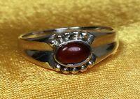 Vintage 925 Sterling Silver Garnet Gemstone Ring -size 6 1/4 Fine Jewelry