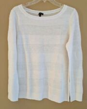 Talbots Women's L/S Summer Weight Sweater Top, White, 100% Linen, Size MP