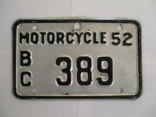 1952 British Columbia MOTORCYCLE  License Plate Tag