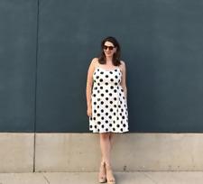 Ann Taylor LOFT Cotton Stretch Black White Polka Dot Print Pattern Casual Dress