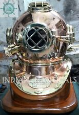 Antique Copper Diving Divers Helmet Nautical Mark V Full Size With Wooden Base
