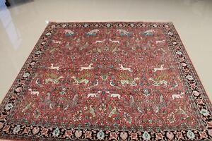 Genuine 100% Silk Kashmir/Hunting desgin 6.0x6.0 Squre  WORK OF ART, GREAT DEAL!