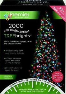 Premier 2000 LED Multi-Action TreeBrights Christmas Tree Lights Timer - MULTI