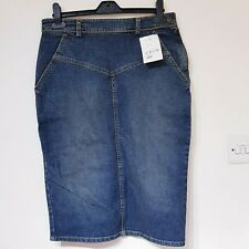 STUSSY Denim Blue Jean skirt Pencil Back Slit Knee Length Pockets Stretch L 12