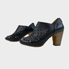 CLARKS ARTISAN Ladies Women Shoes Size UK 6D EU 39.5 Black Leather Peeptoe Heels