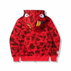 Long Sleeve Jacket Bape Bathing Ape Hoodie SHARK Head Camo Full Zip Coat us**