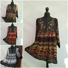 Ladies Aztec Tribal Button Blouse Multicolored Thread Embroidery 12 14 16 18 20